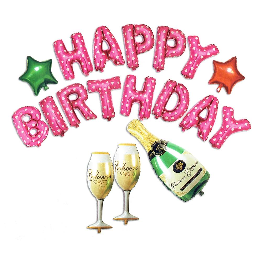 18PCS HAPPY DIRTHDAY Balloons Винний стіл HAPPY DIRTHDAY - Святкові та вечірні предмети