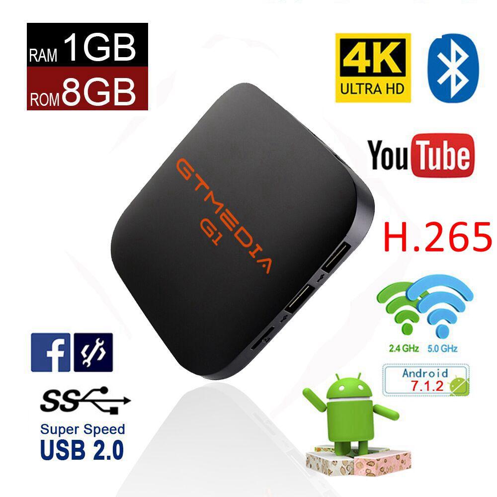 Android 7.1 TV Box WiFi S905W Smart TV Box Android 1 + 8 GB Ram Quad Core décodeur tvbox 4 K lecteur multimédia GT Media G1 décodeur