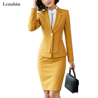 Lenshin 2 Piece Set with Phone Pocket for Women Formal Skirt Suit Office Lady Uniform Designs Fashion Business Jacket and Skirt