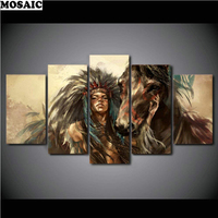 5 pcs Diamond Painting Cross Stitch animals Full Square Drill 3d diy Diamond Embroidery Diamond Mosaic Indians and horse decor