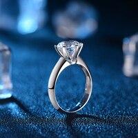 6 коготь Классическая 1.0ct Solitaire Обручение кольцо обручальное кольцо для Для женщин 18 К из белого золота ручной работы GIA Ювелирные изделия с а