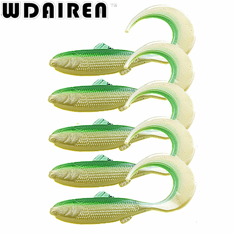 5Pcs lot 4.5cm 1g curls Tail Wobbler Jigging Soft Fishing Lure Worm Shrimp silicone bait Fish Ocean Rock fishing tackle RE 104