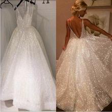 Beauty emily europejski świecący cekiny suknia ślubna 2019 uroczy Spaghetti pasek Backless formalne suknie ślubne wykonane na zamówienie