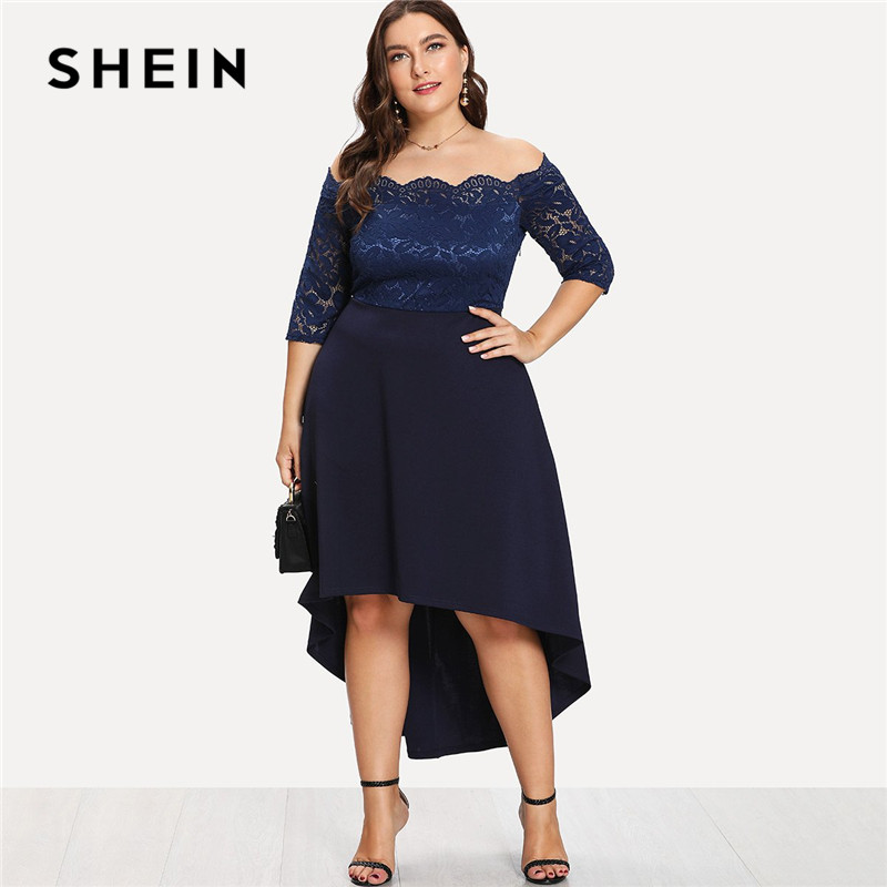 9dc750533e SHEIN Elegant Off The Shoulder High Waist Women Plus Size Lace Dresses 2018  Slash Neck Asymmetrical Hem Party Solid Dress New-in Dresses from Women's  ...