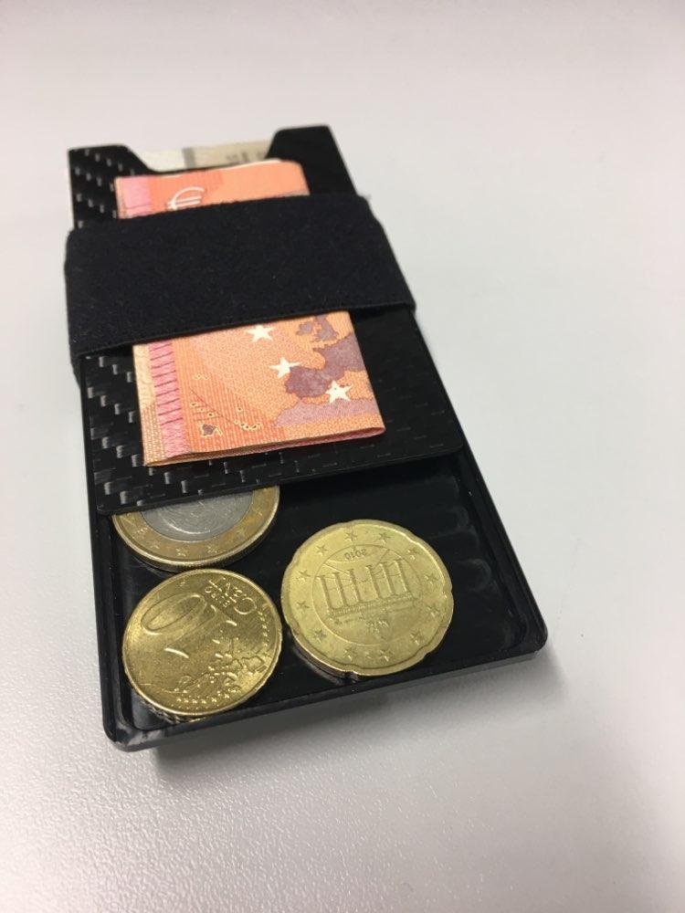 Minimalistische slanke portemonnee van koolstofvezel voor mannen en vrouwen Slim-portemonnee voor voorvak & creditcardhouder RFID-blokkering photo review