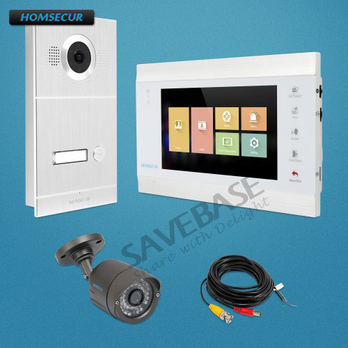 """HOMSECUR 7"""" Video Door Entry Phone Call System with Intra monitor Audio Intercom-in Video Intercom from Security & Protection"""