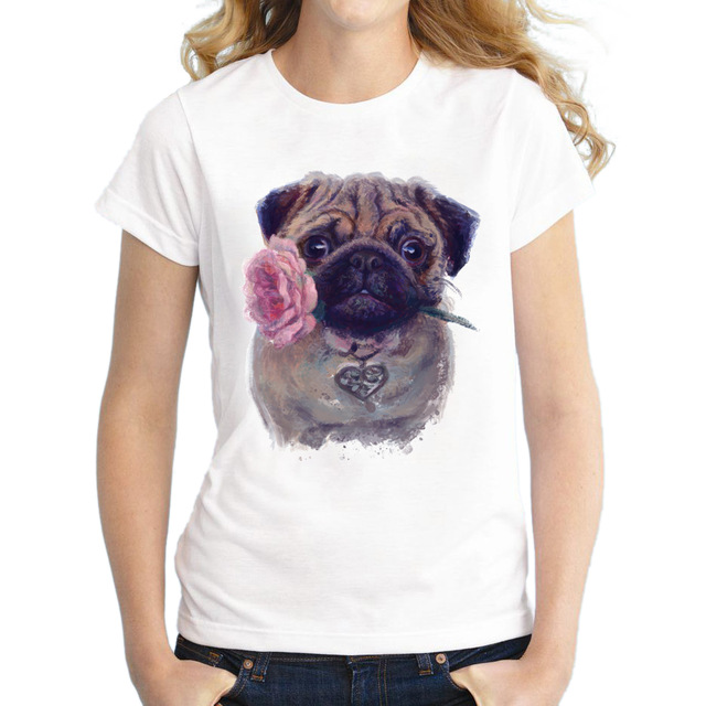 2018 Vintage Fashion Flower Pug Girl Shirt Women T Shirt Tops For Women Camiseta Top Retro Pug Printed T-shirt