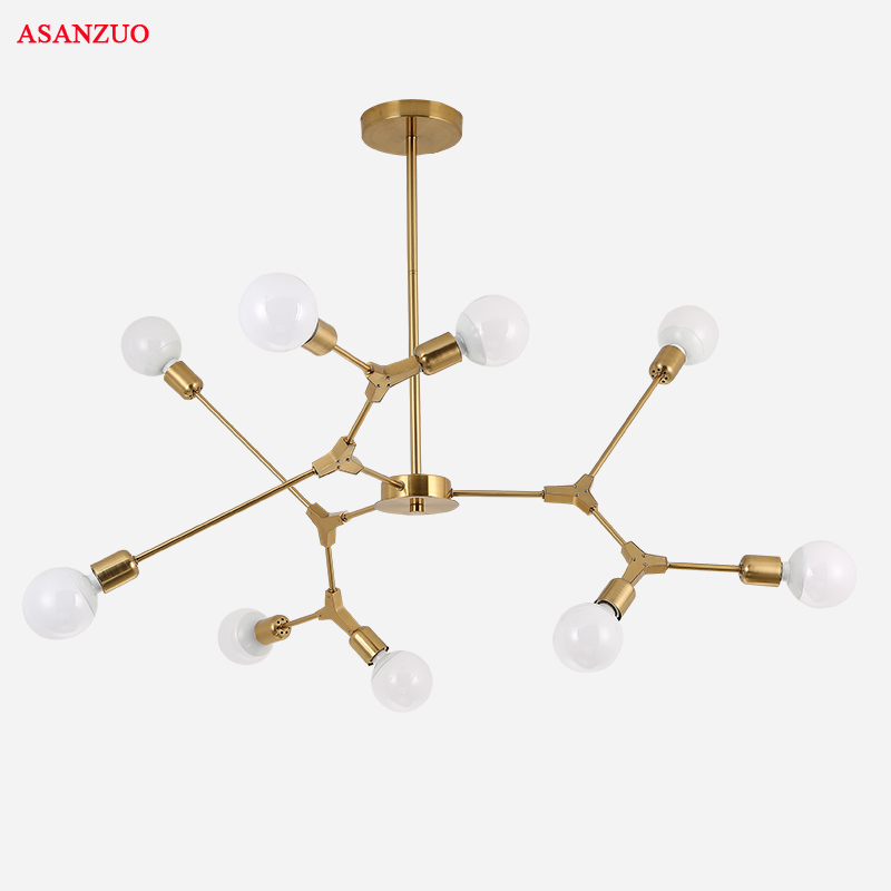 Mordern LED Chandelier Light Nordic Design Branching Lamp For Living Room Dinning Room Lobby Lamp Gold Black Light Fixture