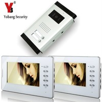 Yobang Security 2 Units Apartment 7'Inch Monitor Wired Video Door Phone Doorbell Speakerphone Video Entry Intercom Camera System