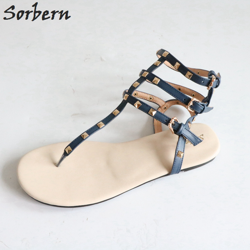 Sorbern Causal Style Flat Heel Women Sandal Rome Beach Flat Studded Sandals Plus Size Shoes Women Blue Ladies Shoes And Sandals brown glaidator style women sandals flat heels rome shoes causal open toe summer shoes ladies sabot sandale femme 2017 fashion