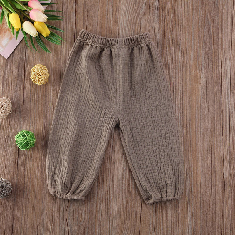 Newborn Toddler Baby Kids Girl's Boy's Cotton Wrinkled Bloomers Trousers Legging Pants Green White 0-4Y(China)