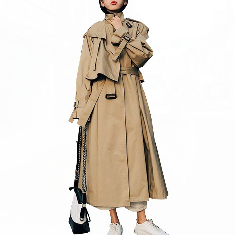 2019 Women   Trench   Coats High Street Loose Outerwear Woman Worker Streetwear Long Trenchcoats Female OL OVERSIZE   Trench   FY12