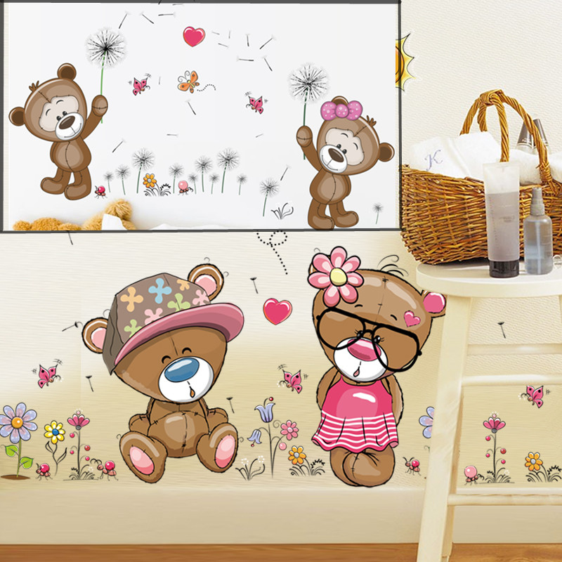 Cartoon Cute Teddy Bear Girl Wall Sticker Home Decals Wall