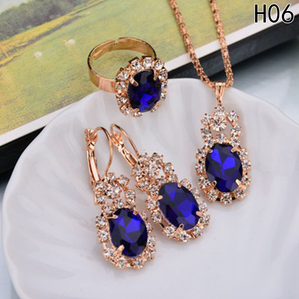 Wedding-Jewelry-Sets Necklace-Set Crystal-Stone Brides Silver-Color Blue Women Fashion