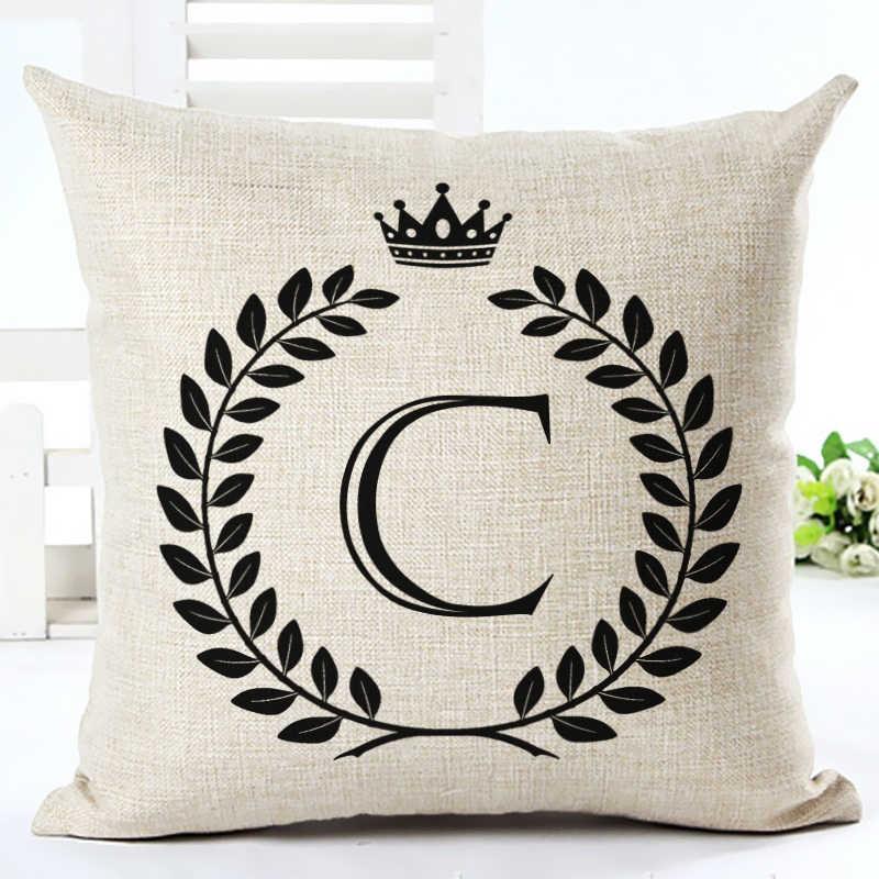 คุณภาพสูงตัวอักษรการ์ตูน Cushion Home Decor Cojines โซฟาโยนหมอนพิมพ์ฝ้าย Linen สแควร์ Almofadas