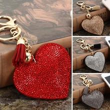 Fashion Rhinestone Heart Shape Pendant Handbag Keychain Bag Keyring Key Chain
