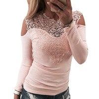 2018 New Sexy Jesień Koronki Szwy T Shirt Fashion Hot sprzedaż Różowy Szary Czarny Wysokiej Jakości Topy Drop Shipping 3 kolory