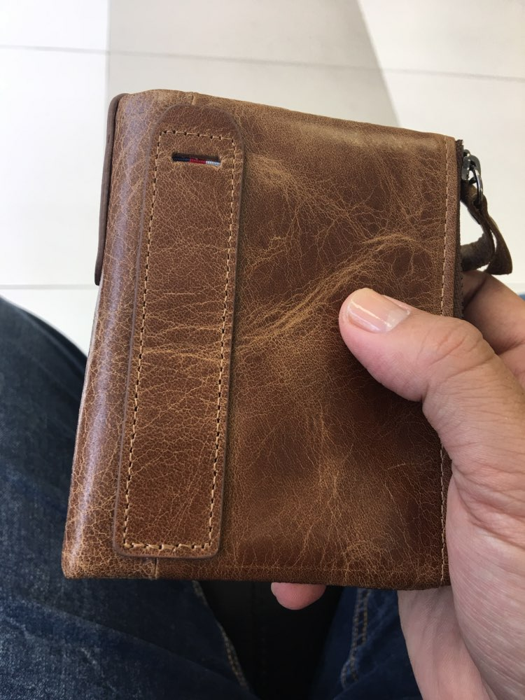 Hot!! Crazy Horse Genuine Leather Men Wallets Credit Business Card Holders Double Zipper Cowhide Leather Wallet Purse Carteira