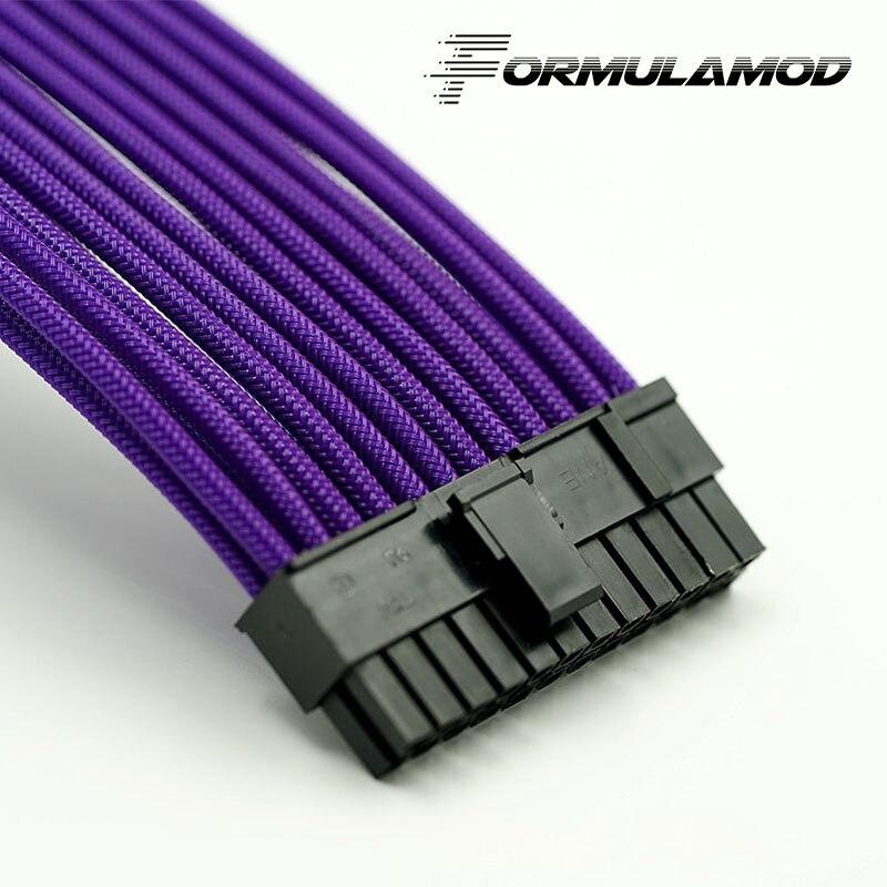 FormulaMod Fm-ATX24P-A, ATX 24Pin материнская плата удлинитель, 18AWG 24Pin многоцветные соответствующие кабели расширения - Цвет лезвия: Purple