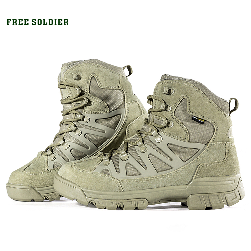 FREE SOLDIER Outdoor Tactical Military Men Boots For Camping Climbing Leather Shoes sofirn c19 high power led flashlight 18650 self defense military tactical powerful flashlight 26650 torch light camping hunting