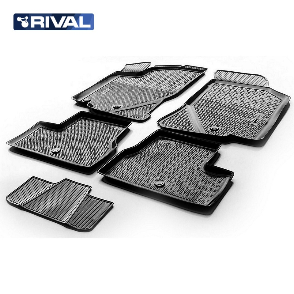 For Datsun MiDo 2014-2019 floor mats into saloon 5 pcs/set Rival 18701001 for datsun mido 2014 2019 trunk mat rival 18701002