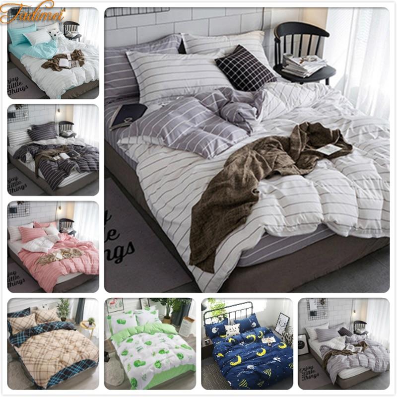 Classical Stripe 3/4 Pcs Bedding Sets Adult Kids Child Soft Cotton Bed Linens Single Twin Queen King Size Duvet Cover Quilt Case