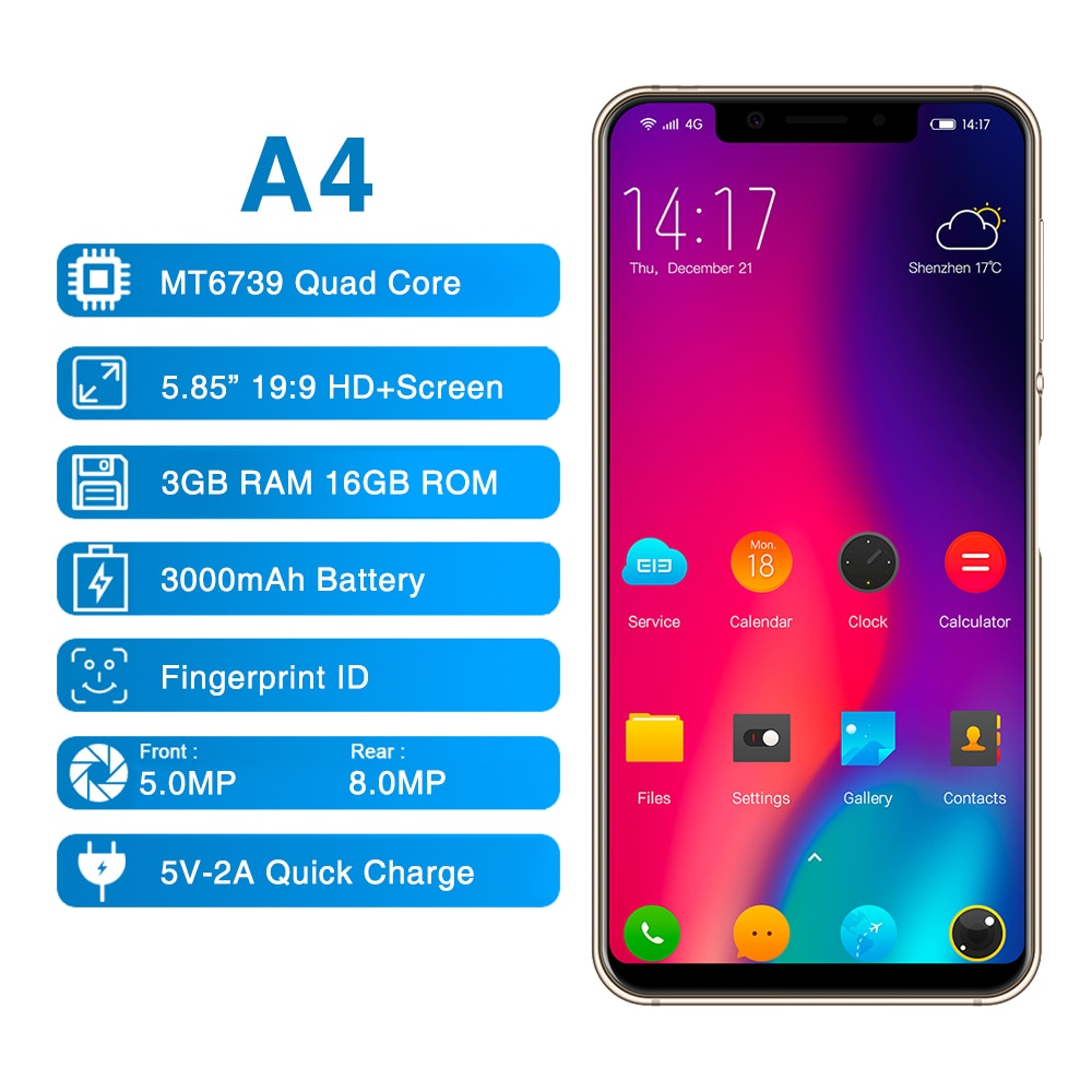 """Image 3 - ELEPHONE A4 3GB 16GB Mobile Phone Android 8.1 Face ID 5.85"""" 1440*720P HD+ 18:9 Display,Full Screen 13MP+5MP MTK6739 Quad core-in Cellphones from Cellphones & Telecommunications"""
