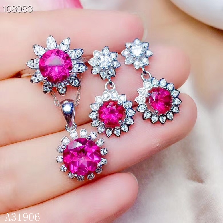 KJJEAXCMY bijoux fins 925 argent sterling incrusté poudre naturelle topaze pierre gemme femme collier chaîne pendentif anneau goujons support