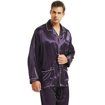 Męska jedwabna satynowa piżama zestaw piżama zestaw piżam PJS bielizna nocna Loungewear S M L XL XXL XXXL 4XL tanie i dobre opinie Mężczyźni Piżamy Skręcić w dół kołnierz REGULAR Pełna LONXU MBai5901 Przycisk fly Stałe Lycra Jedwabiu Casual