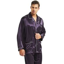 Męska jedwabna satynowa piżama zestaw piżama zestaw piżam PJS bielizna nocna Loungewear S, M, L, XL, XXL, XXXL, 4XL