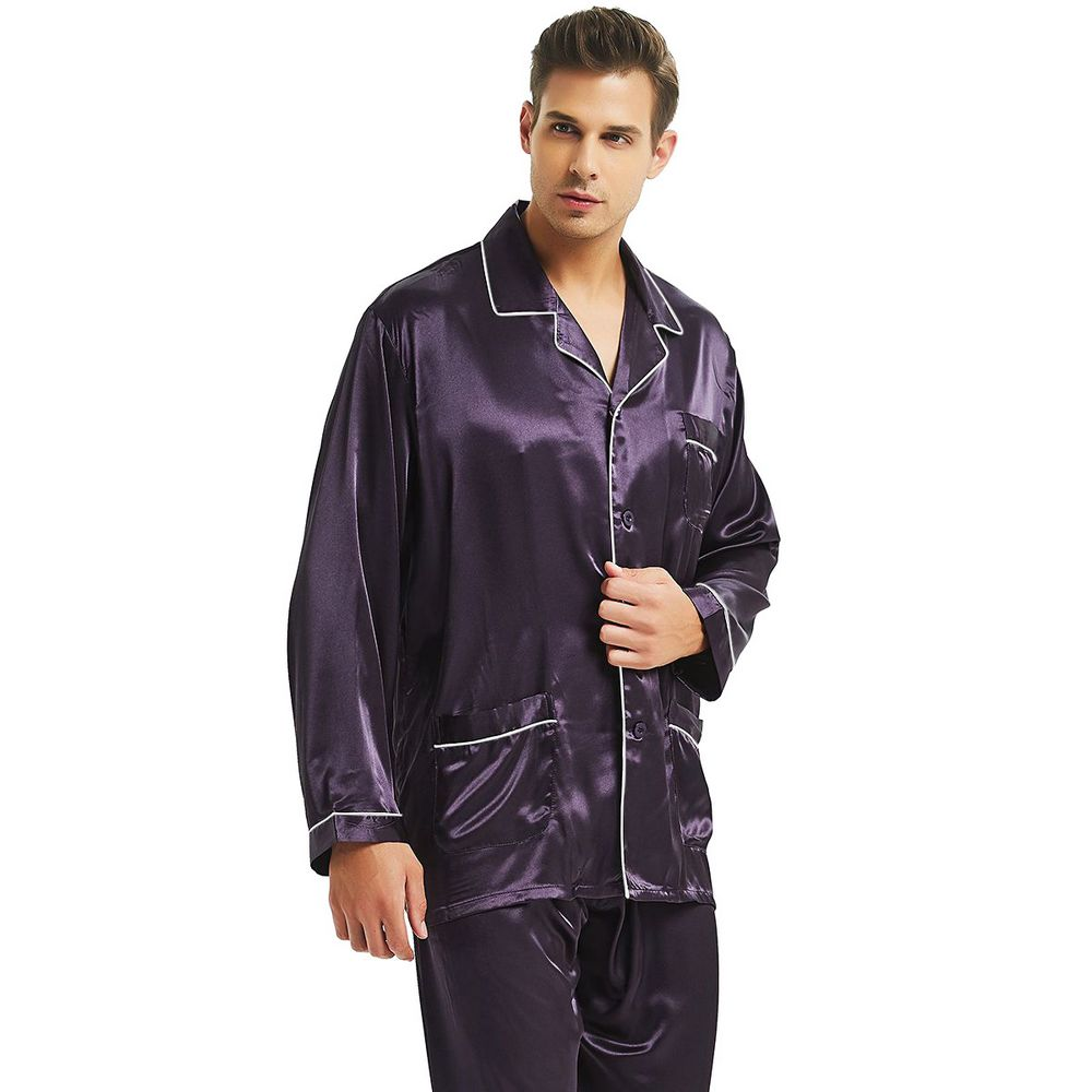 Mens Silk Satin Pajamas Set  Pajama Pyjamas  Set  PJS Sleepwear Loungewear  S,M,L,XL,XXL,XXXL,4XL