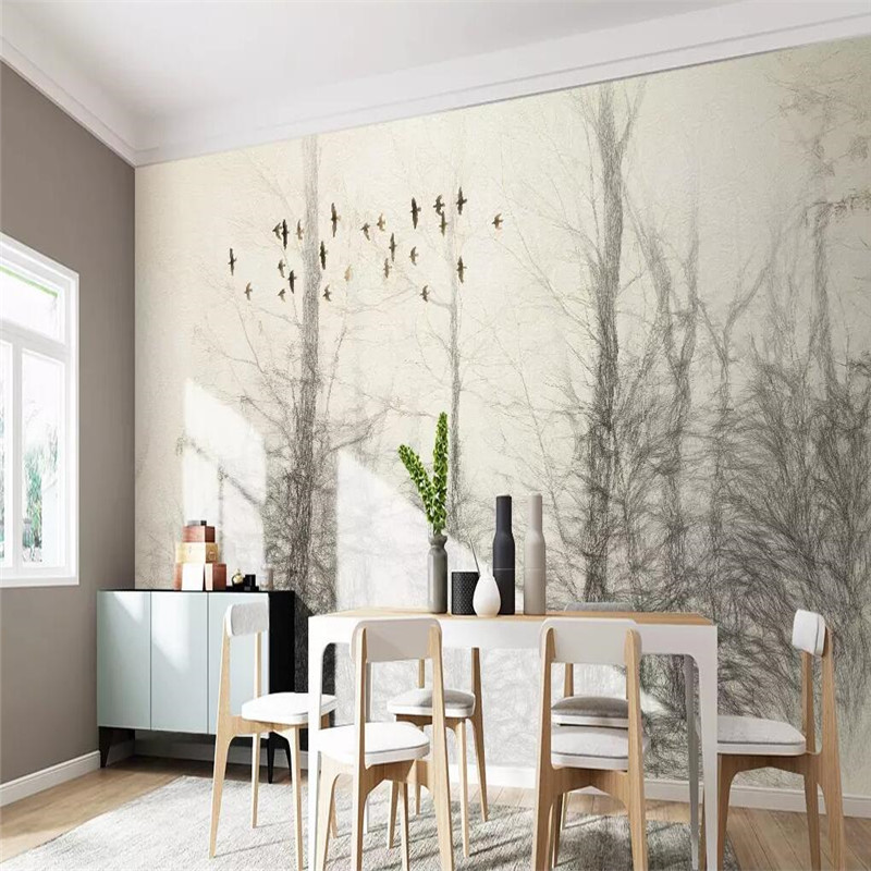 Hand painted woods birds TV background wall painting professional production murals wholesale wallpaper mural poster photo wall in Fabric Textile Wallcoverings from Home Improvement