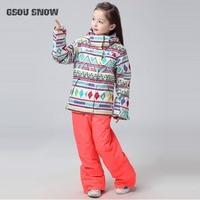 2018 GSOU SNOW Kids Ski Suit Children Girls Ski Jacket Pant Outdoor Sport Wear Skiing Suit Winter Clothing Windproof Waterproof