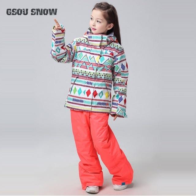 6250054db8a 2018 GSOU nieve niños esquí traje niños niñas chaqueta de esquí pantalones  deporte al aire libre