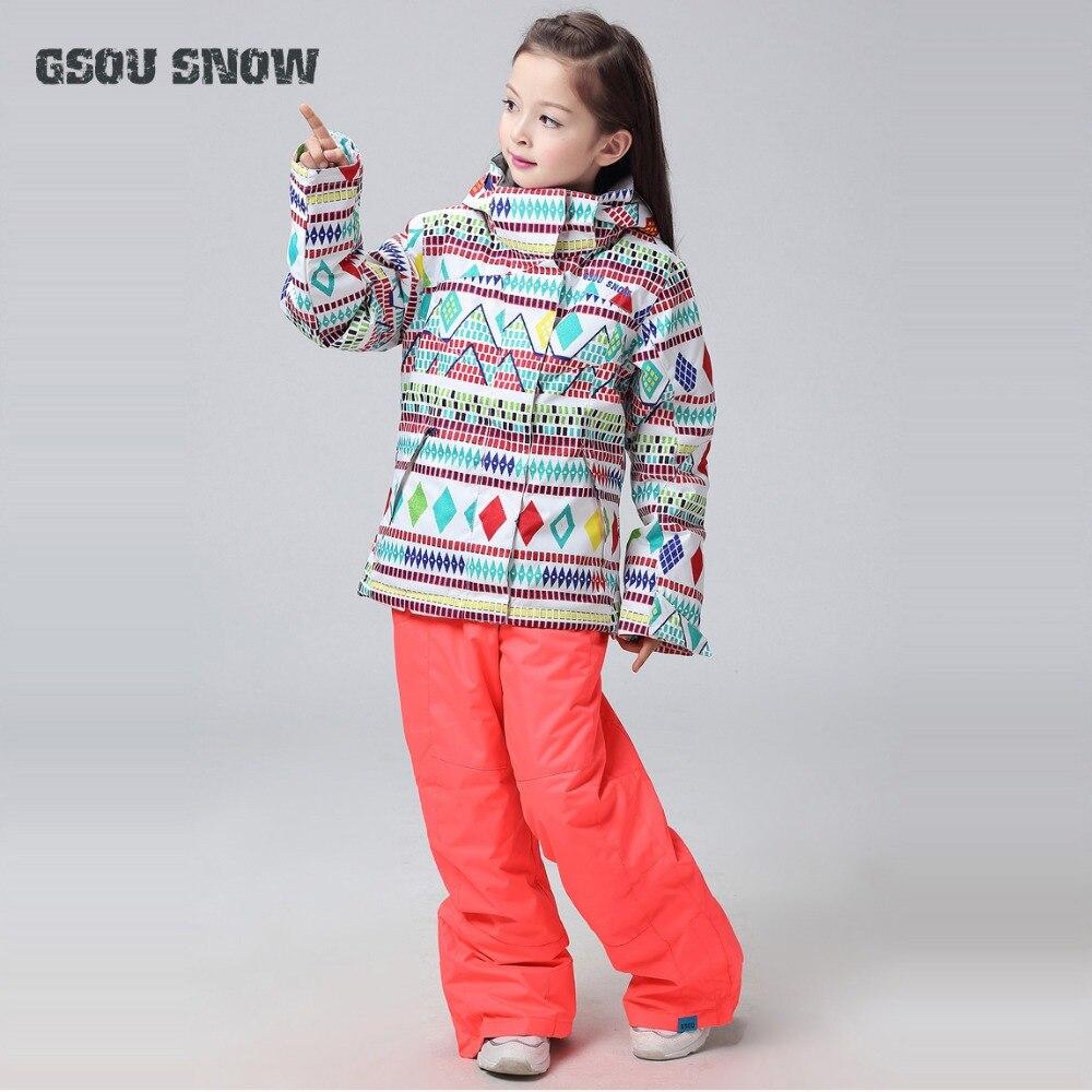 2019 GSOU neige enfants Ski costume enfants filles Ski veste pantalon en plein air Sport porter Ski costume hiver vêtements coupe-vent imperméable