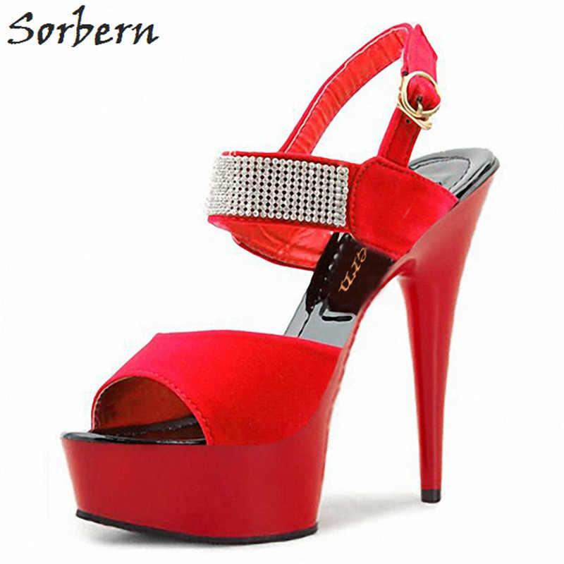 Sorbern 18Cm masywne szpilki na wysokim obcasie damskie sandały czerwone buty na pasku letnie buty damskie obcasy platformowe buty rozmiar 11 USA