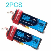 2PCS DXF RC battery Lipo 7.4V 6500mah 100C Max 200C 2S1P RC Lipo Battery hard case for RC 1/10 Traxxas Stampede Car Truck