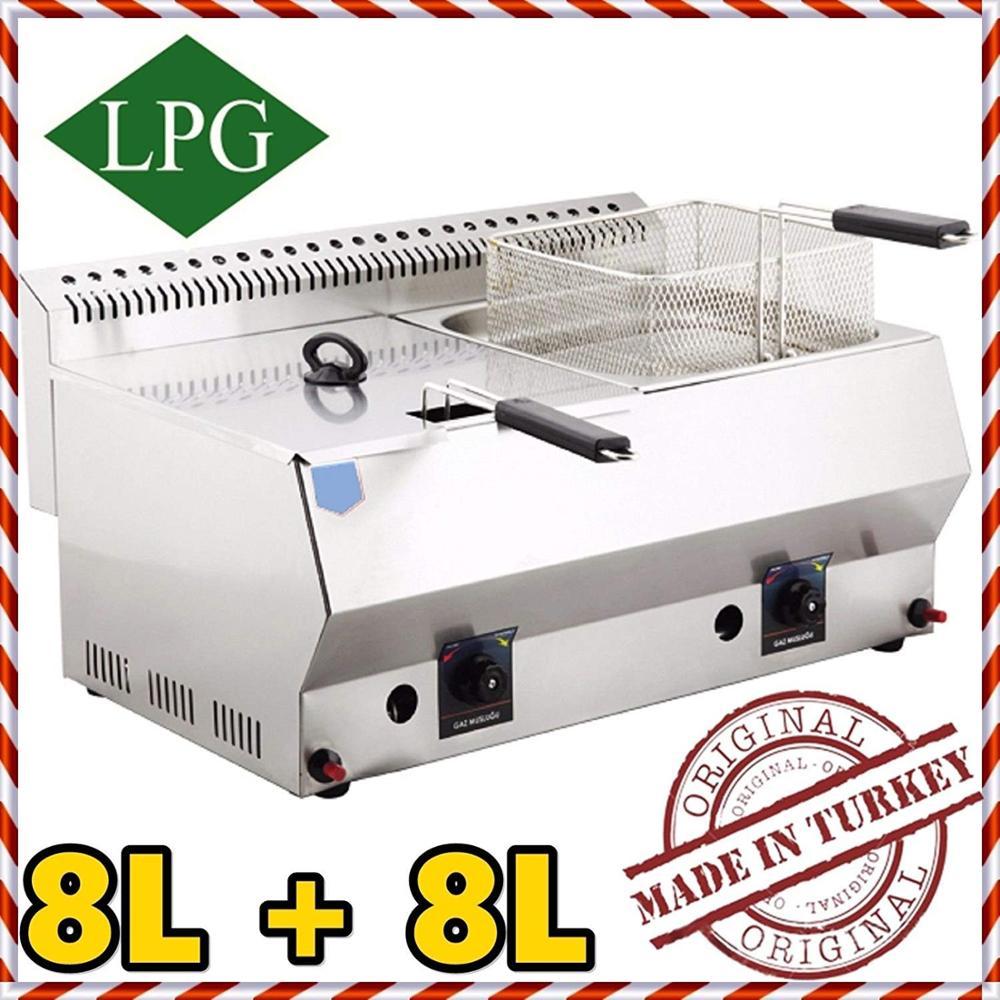 Commercial Dual Tank 8+8 Lt. Total:16 LT. Capacity, Stainless Steel Countertop Tabletop Propan PROPANE (LPG) GAS Deep Fryer