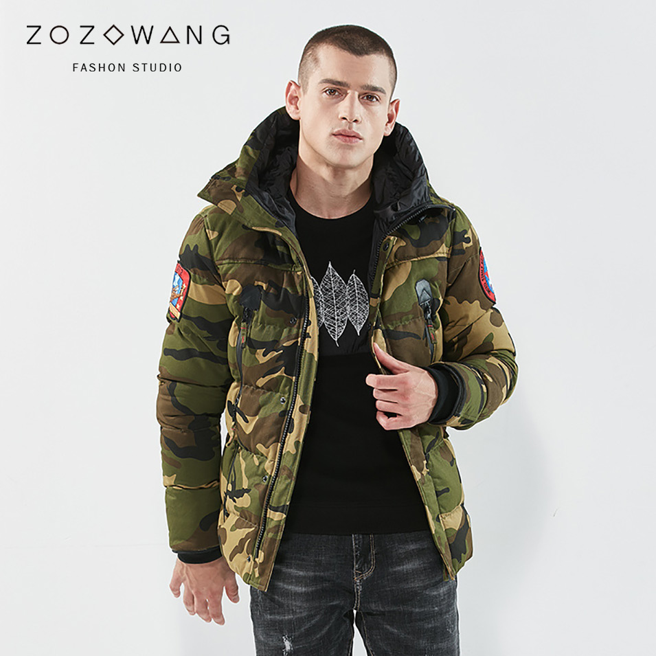ZOZOWANG 2019 Spring winter jacket men   parkas   Camouflage outdoor coat army green outwear loose size Appliques Epaulet male