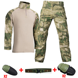 Military Uniform Combat Shirt With Elbow Pads Army Tactical Camouflage Sets US Uniforme Militaire Militar Multicam Tatico Tops