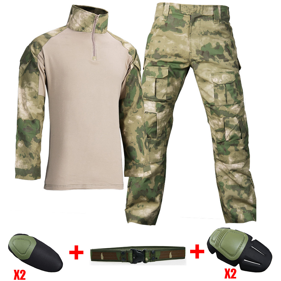 Military Uniform Combat Shirt With Elbow Pads Army Tatico Camouflage US  Airsoft Tactical Shirts Militar Multicam Tatico Tops