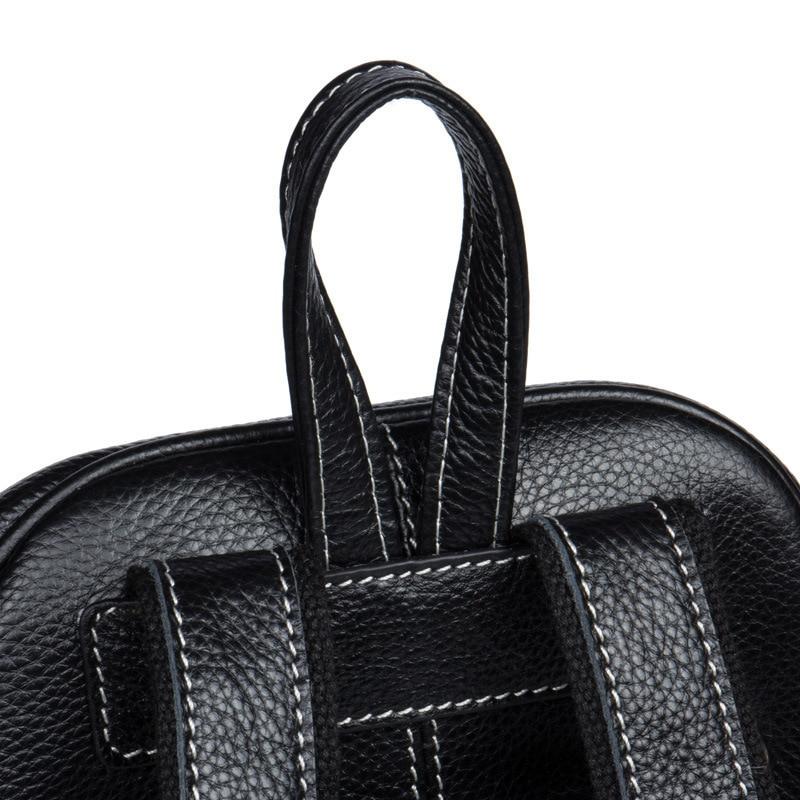 Top Quality Genuine Leather Women Casual Fashion Small Feminine Travel Kawaii Backpack Sac A Dos Bagpack Back Drawstring Bag - 4