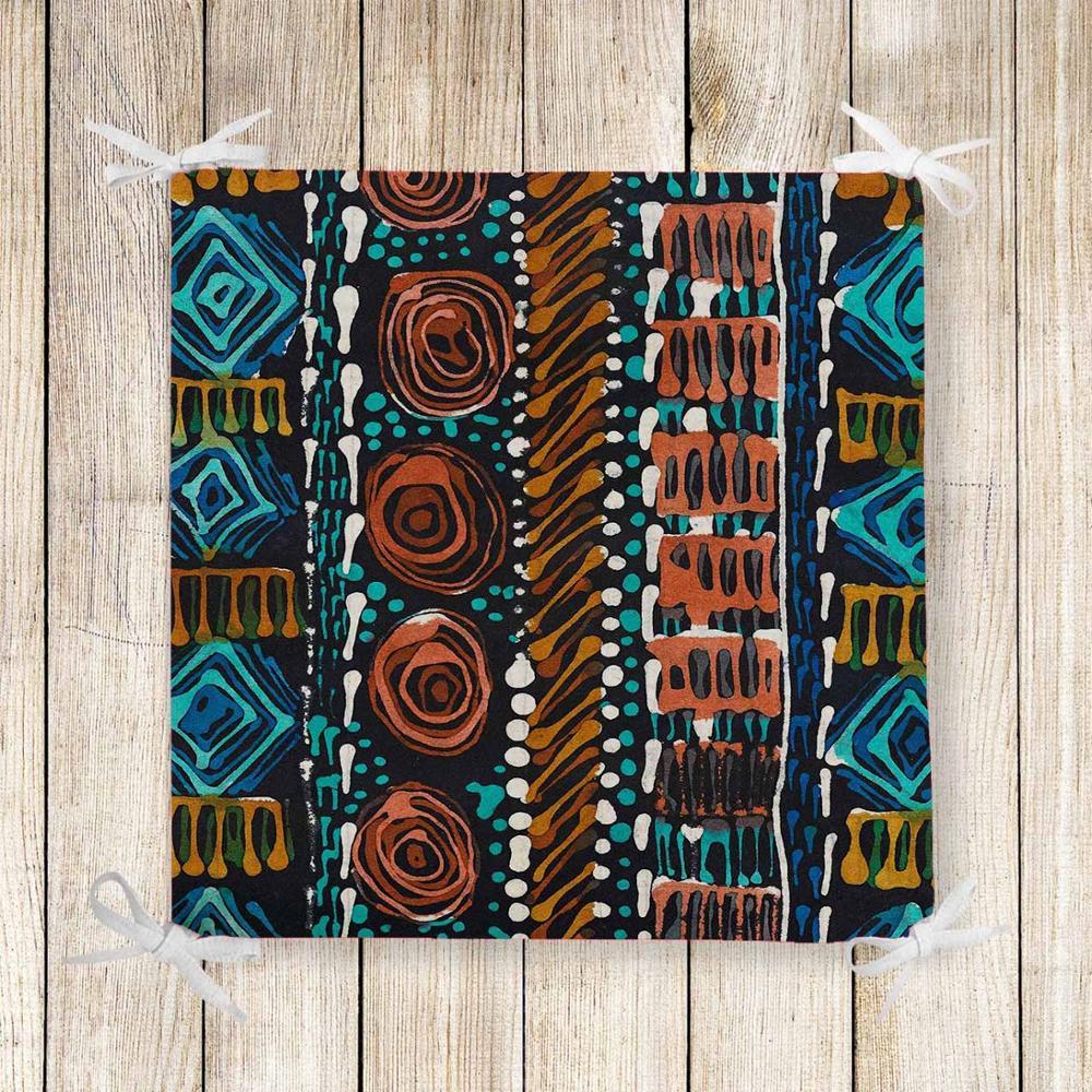 Else Aztec Geometric Ethnic Blue Red Print Chair Pad Seat Cushion Soft Memory Foam Full Lenght Ties Non Slip Washable Zipper