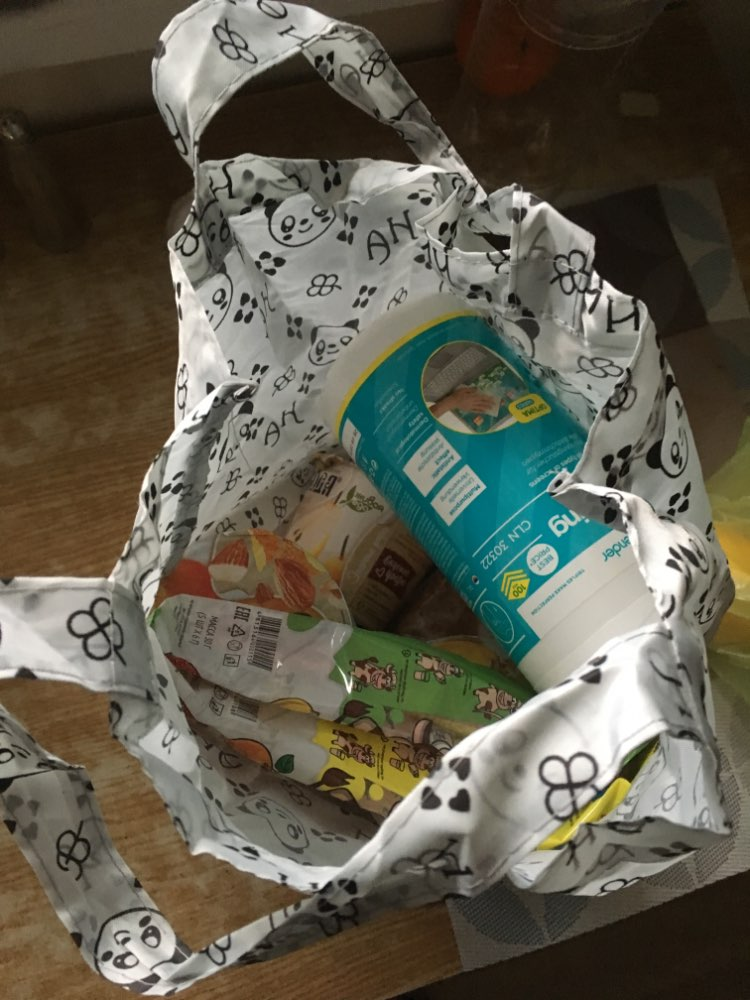 Hasp Cartoon Anime Folding Shopping Tote Reusable Eco Bag Panda Frog Pig Bear waterproof shopping bag Grocery  Handbags photo review