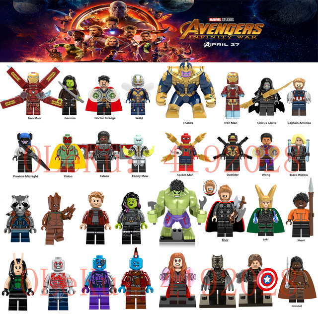26 8 Para Unids Legoings Marvel Avengers Infinity War Super Heroes Thanos Iron Spider Man Black Widow 32 Piezas Set Figuras Bloques De