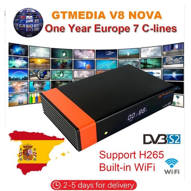 Satellietontvanger Gtmedia V8 Nova Power door Freesat V8 Super DVB-S2 H.265 Ingebouwde WIFI Receptor + 1 Jaar Europa Clines decoder