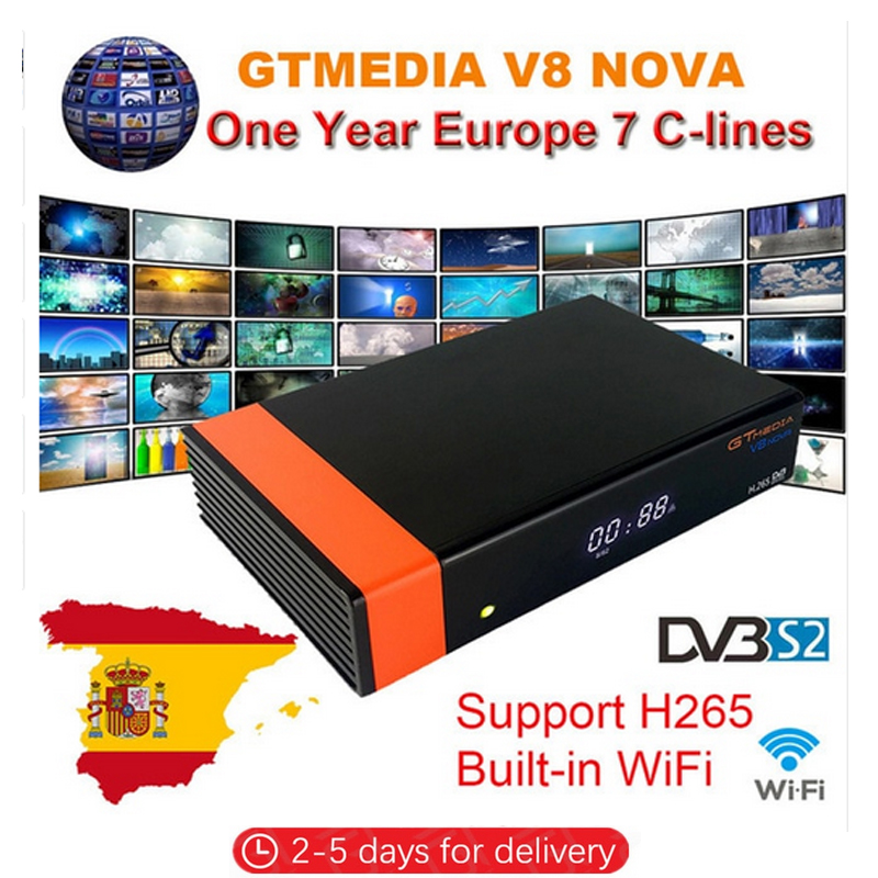 Satellite Receiver Gtmedia V8 Nova Power By Freesat V8 Super DVB-S2 H.265 Built-in WIFI Receptor + 1 Year Europe Clines Decoder