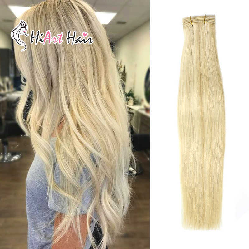 "HiArt 100g Weft Hair Extension Real Human Virgin Cuticle Remy Hair Salon Weft Extenion Double Drawn Human Weft Hair 18""20""22"""