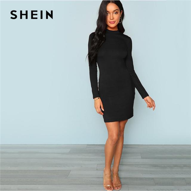 Black Elegant Mock Neck Form Fitting Long Sleeve Solid Skinny Fashion Women Dresses