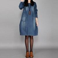 2017 Women Vintage Crew Neck Long Sleeve Pockets Denim Blue Loose Casual Party Long Vestido Tunic